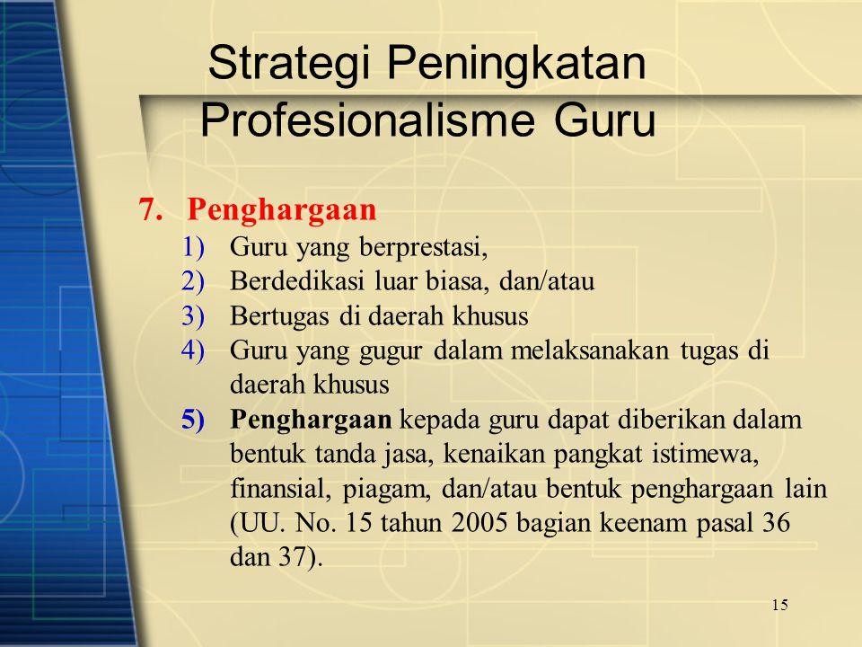 15 Strategi Peningkatan Profesionalisme Guru 7.Penghargaan 1)Guru yang berprestasi, 2)Berdedikasi luar biasa, dan/atau 3)Bertugas di daerah khusus 4)G