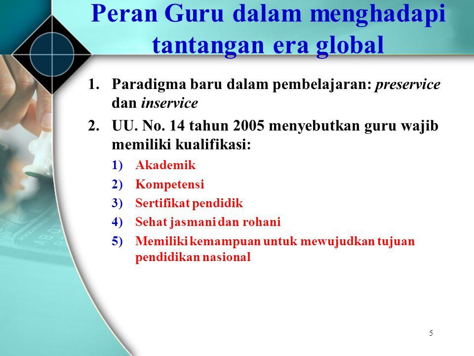 5 1.Paradigma baru dalam pembelajaran: preservice dan inservice 2.UU. No. 14 tahun 2005 menyebutkan guru wajib memiliki kualifikasi: 1)Akademik 2)Komp