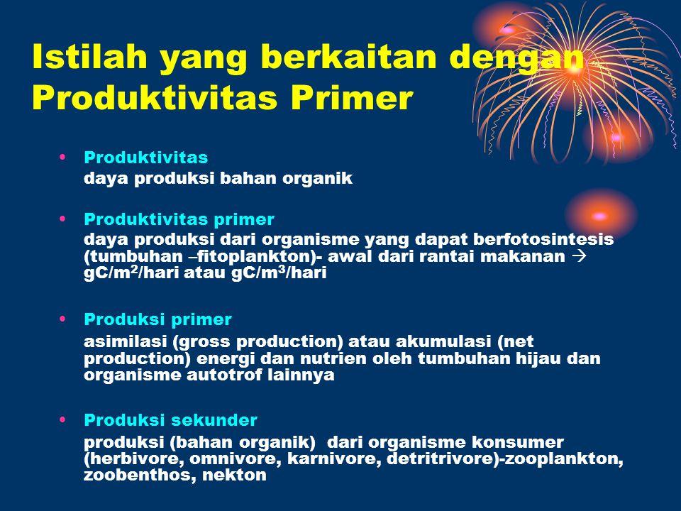Istilah yang berkaitan dengan Produktivitas Primer Produktivitas daya produksi bahan organik Produktivitas primer daya produksi dari organisme yang da
