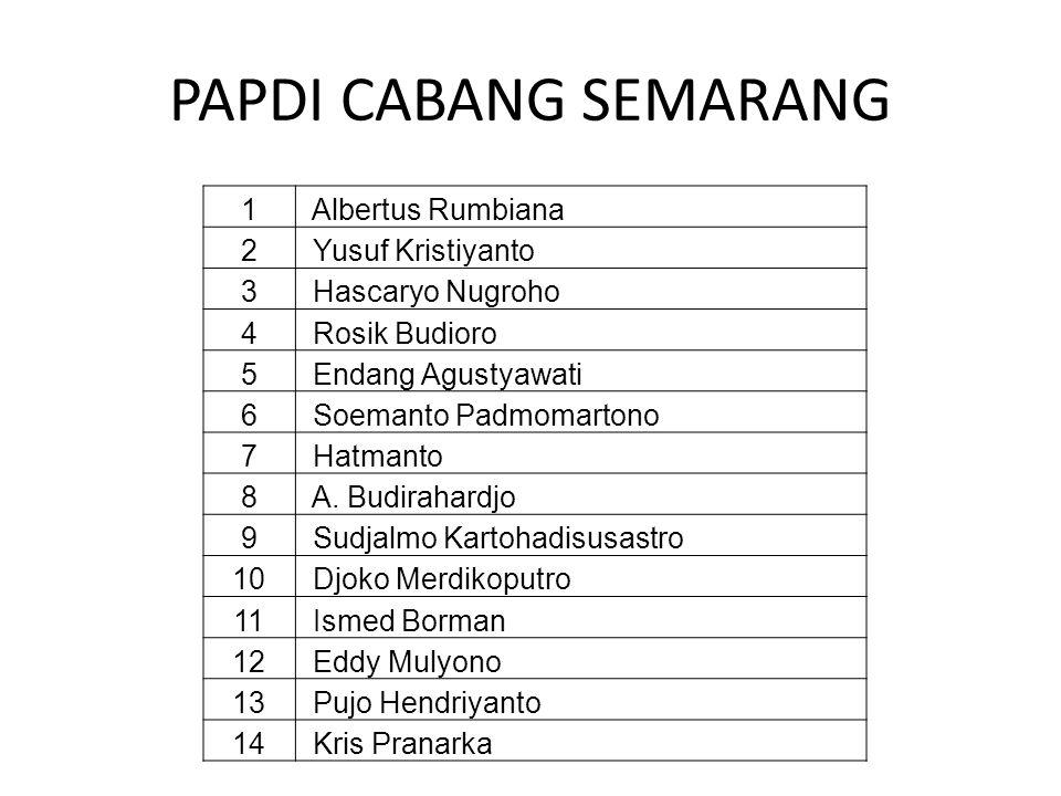 PAPDI CABANG SEMARANG 1 Albertus Rumbiana 2 Yusuf Kristiyanto 3 Hascaryo Nugroho 4 Rosik Budioro 5 Endang Agustyawati 6 Soemanto Padmomartono 7 Hatman