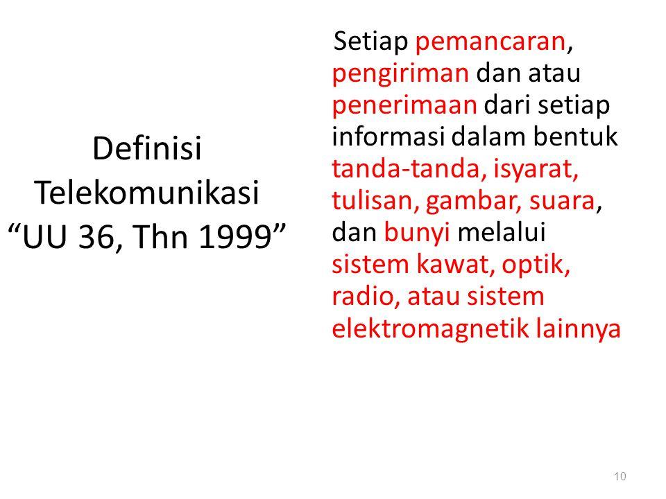 """Definisi Telekomunikasi """"UU 36, Thn 1999"""" Setiap pemancaran, pengiriman dan atau penerimaan dari setiap informasi dalam bentuk tanda-tanda, isyarat, t"""