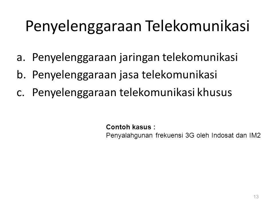 Penyelenggaraan Telekomunikasi a.Penyelenggaraan jaringan telekomunikasi b.Penyelenggaraan jasa telekomunikasi c.Penyelenggaraan telekomunikasi khusus