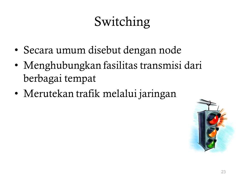 Switching Secara umum disebut dengan node Menghubungkan fasilitas transmisi dari berbagai tempat Merutekan trafik melalui jaringan 23