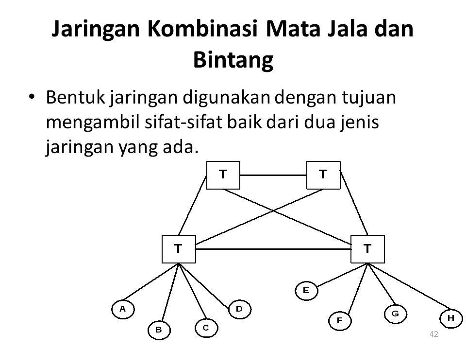 Jaringan Kombinasi Mata Jala dan Bintang Bentuk jaringan digunakan dengan tujuan mengambil sifat-sifat baik dari dua jenis jaringan yang ada. 42