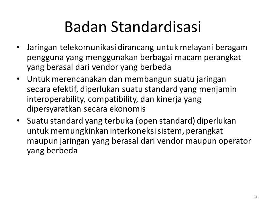 Badan Standardisasi Jaringan telekomunikasi dirancang untuk melayani beragam pengguna yang menggunakan berbagai macam perangkat yang berasal dari vend