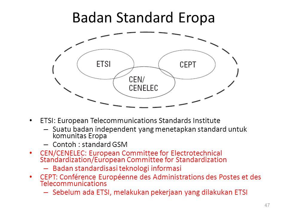 Badan Standard Eropa ETSI: European Telecommunications Standards Institute – Suatu badan independent yang menetapkan standard untuk komunitas Eropa –