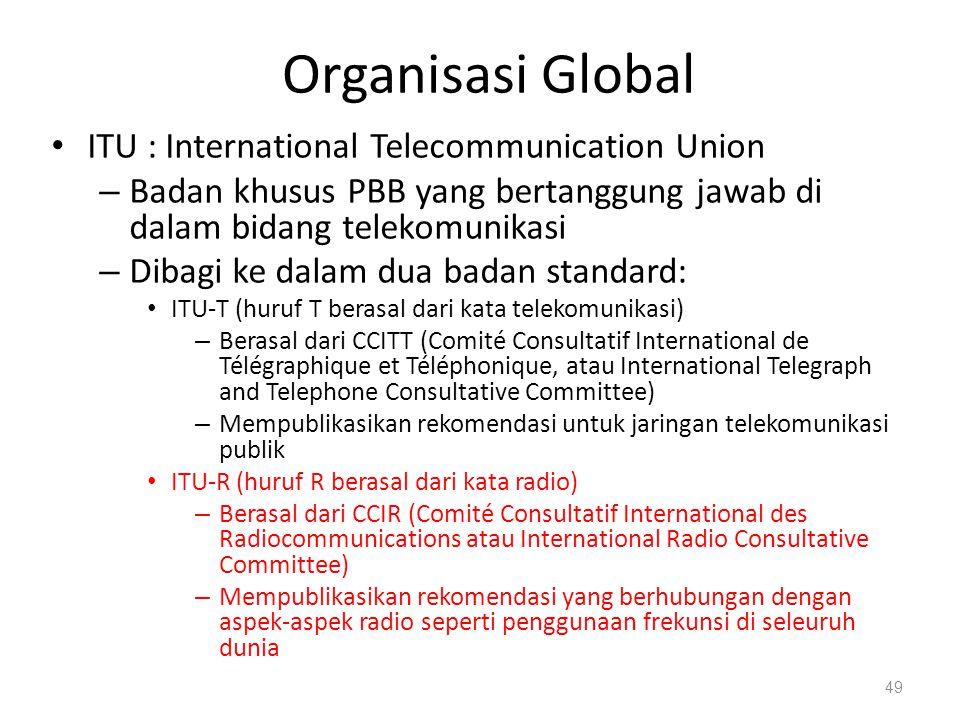 Organisasi Global ITU : International Telecommunication Union – Badan khusus PBB yang bertanggung jawab di dalam bidang telekomunikasi – Dibagi ke dal