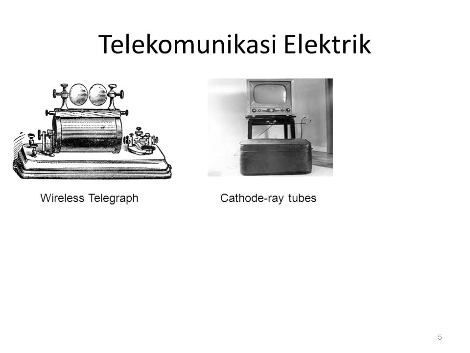 Fase Perkembangan Telekomunikasi Telegraph & Telephone (19 th century) Satellite communications (1960s) Digital communications (1980s) Internet age (1990s) Wireless communications (1990s) Abad 21.