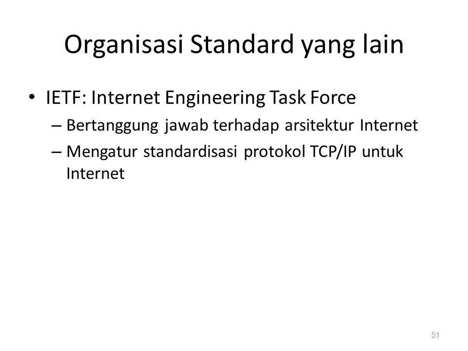 Organisasi Standard yang lain IETF: Internet Engineering Task Force – Bertanggung jawab terhadap arsitektur Internet – Mengatur standardisasi protokol