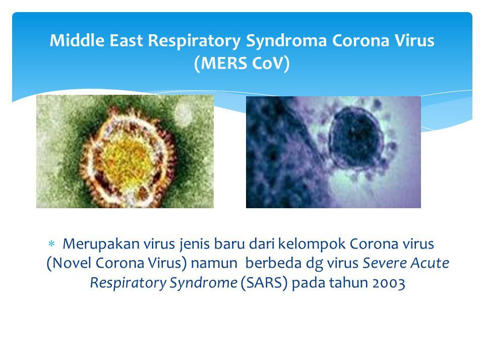  MERS-CoV adalah penyakit sindroma pernapasan yang disebabkan oleh virus Corona yang menyerang saluran pernapasan mulai dari yg ringan s/d berat.