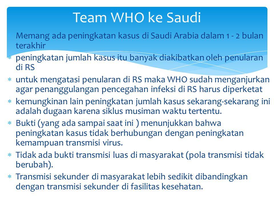  Memang ada peningkatan kasus di Saudi Arabia dalam 1 - 2 bulan terakhir  peningkatan jumlah kasus itu banyak diakibatkan oleh penularan di RS  unt