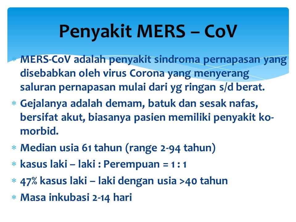  MERS-CoV adalah penyakit sindroma pernapasan yang disebabkan oleh virus Corona yang menyerang saluran pernapasan mulai dari yg ringan s/d berat.  G