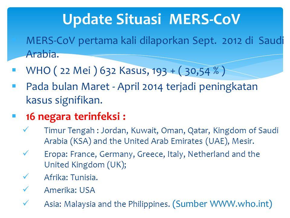  MERS-CoV pertama kali dilaporkan Sept. 2012 di Saudi Arabia.  WHO ( 22 Mei ) 632 Kasus, 193 + ( 30,54 % )  Pada bulan Maret - April 2014 terjadi p