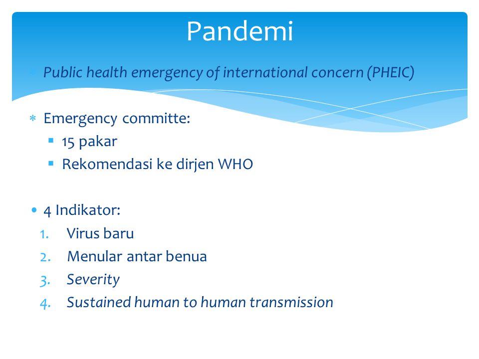  Public health emergency of international concern (PHEIC)  Emergency committe:  15 pakar  Rekomendasi ke dirjen WHO 4 Indikator: 1.Virus baru 2.Me