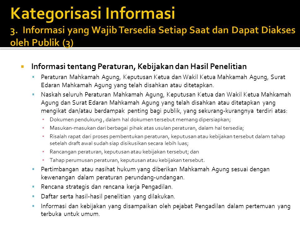  Informasi tentang Peraturan, Kebijakan dan Hasil Penelitian  Peraturan Mahkamah Agung, Keputusan Ketua dan Wakil Ketua Mahkamah Agung, Surat Edaran