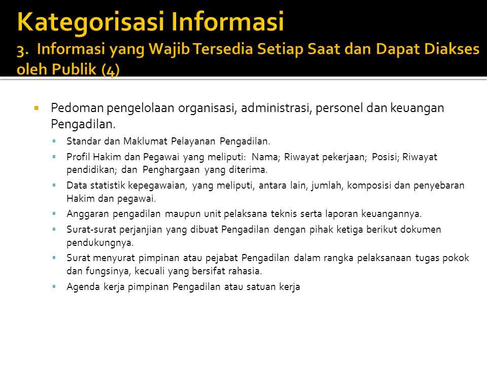  Pedoman pengelolaan organisasi, administrasi, personel dan keuangan Pengadilan.  Standar dan Maklumat Pelayanan Pengadilan.  Profil Hakim dan Pega