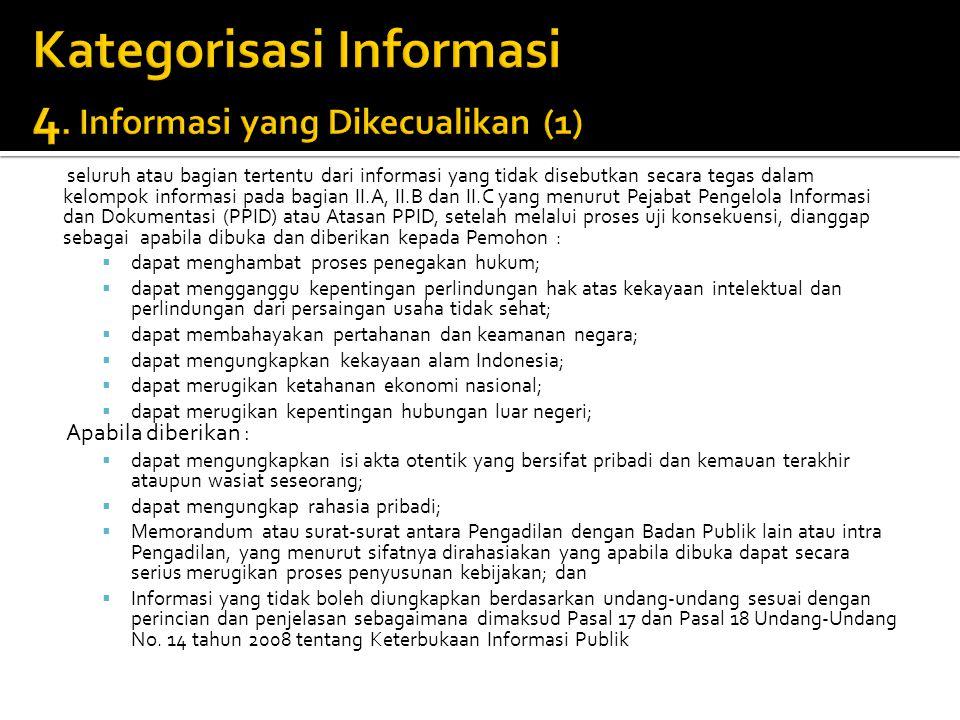 seluruh atau bagian tertentu dari informasi yang tidak disebutkan secara tegas dalam kelompok informasi pada bagian II.A, II.B dan II.C yang menurut P