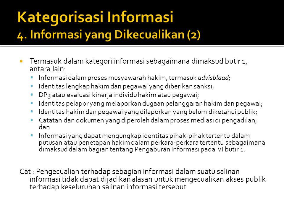  Termasuk dalam kategori informasi sebagaimana dimaksud butir 1, antara lain:  Informasi dalam proses musyawarah hakim, termasuk advisblaad;  Ident