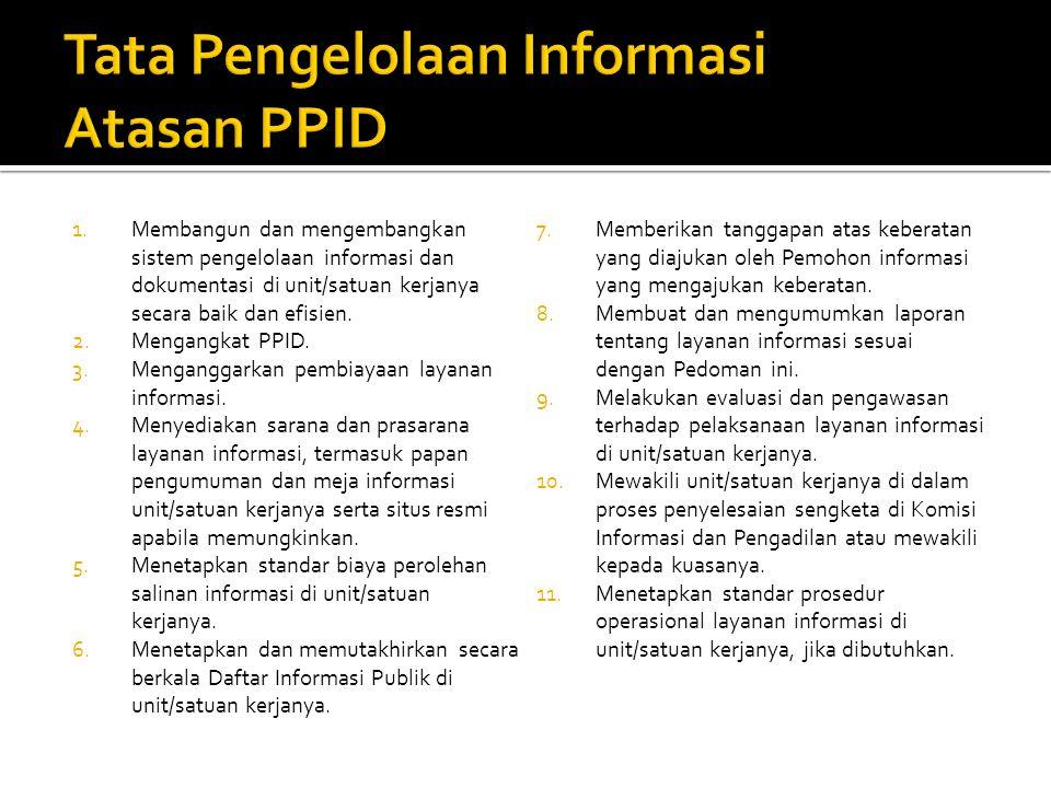 1.Membangun dan mengembangkan sistem pengelolaan informasi dan dokumentasi di unit/satuan kerjanya secara baik dan efisien. 2.Mengangkat PPID. 3.Menga