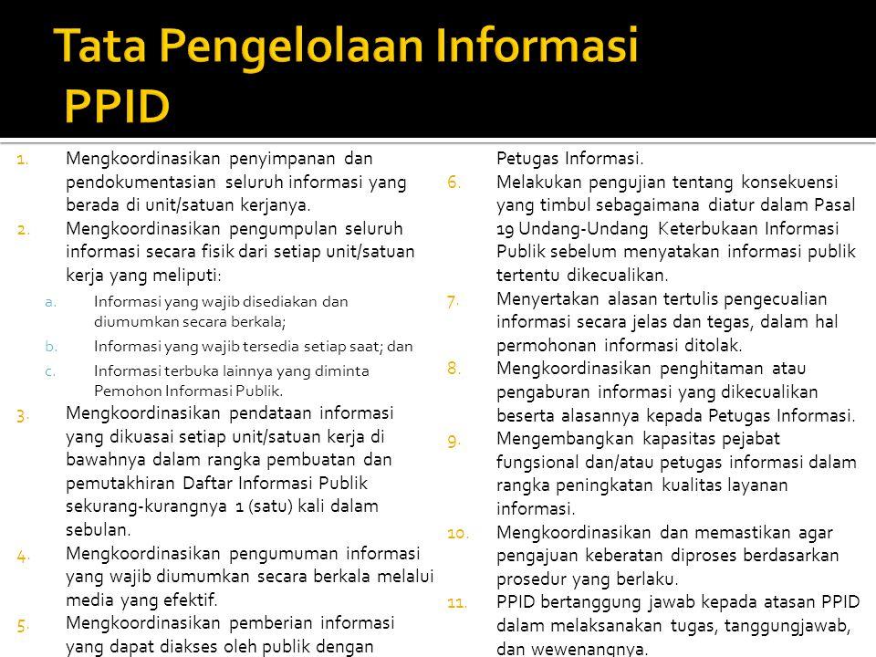 1.Mengkoordinasikan penyimpanan dan pendokumentasian seluruh informasi yang berada di unit/satuan kerjanya. 2.Mengkoordinasikan pengumpulan seluruh in