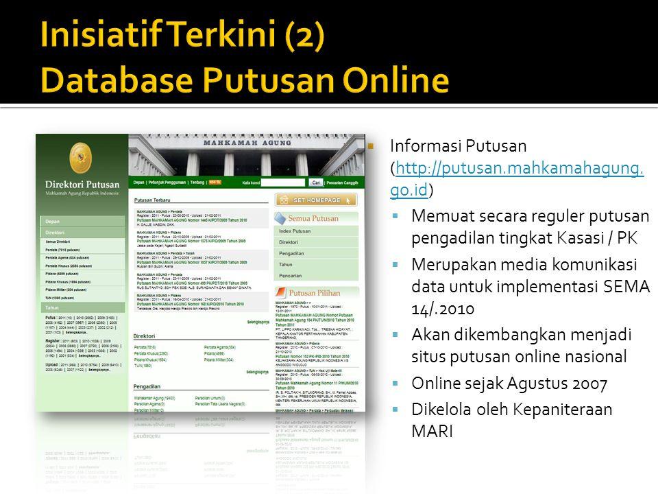  Informasi Putusan (http://putusan.mahkamahagung. go.id)http://putusan.mahkamahagung. go.id  Memuat secara reguler putusan pengadilan tingkat Kasasi