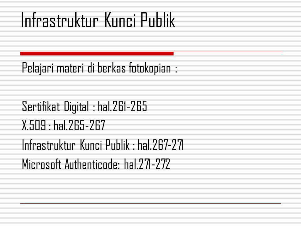 Pelajari materi di berkas fotokopian : Sertifikat Digital : hal.261-265 X.509 : hal.265-267 Infrastruktur Kunci Publik : hal.267-271 Microsoft Authenticode: hal.271-272 Infrastruktur Kunci Publik