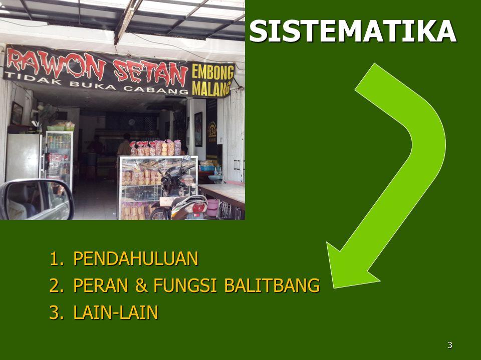 SISTEMATIKA 1.PENDAHULUAN 2.PERAN & FUNGSI BALITBANG 3.LAIN-LAIN 3