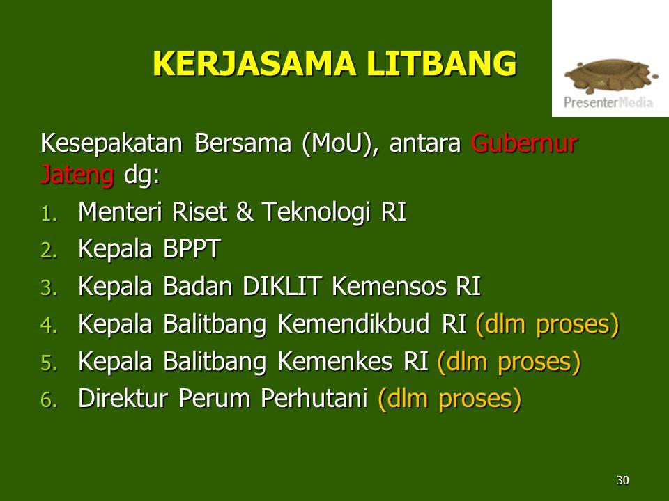 KERJASAMA LITBANG Kesepakatan Bersama (MoU), antara Gubernur Jateng dg: 1. Menteri Riset & Teknologi RI 2. Kepala BPPT 3. Kepala Badan DIKLIT Kemensos