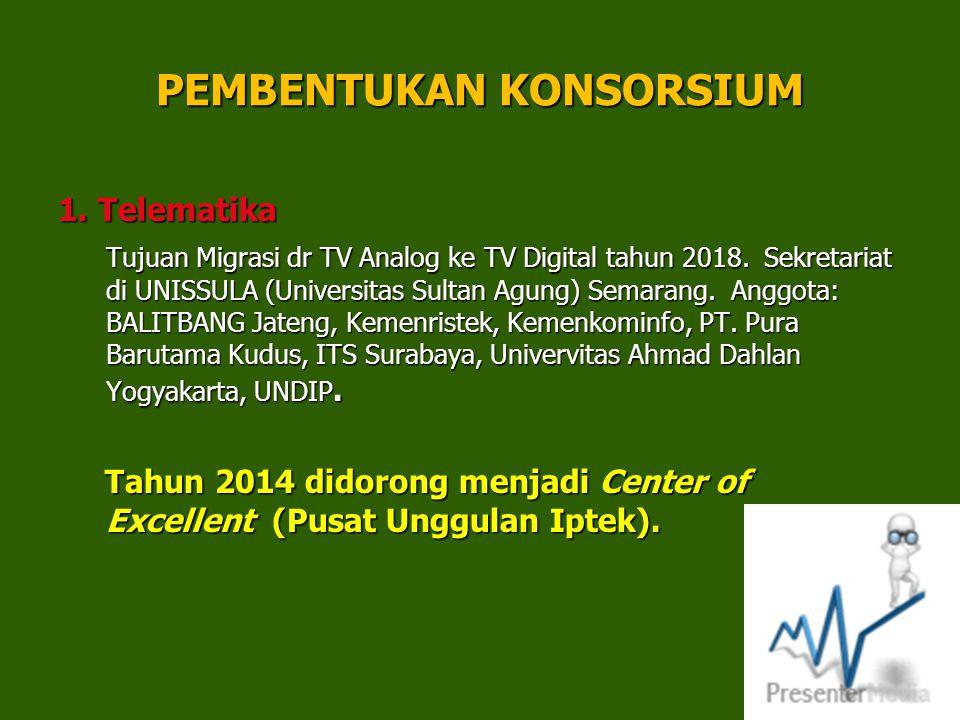 PEMBENTUKAN KONSORSIUM 1. Telematika Tujuan Migrasi dr TV Analog ke TV Digital tahun 2018. Sekretariat di UNISSULA (Universitas Sultan Agung) Semarang