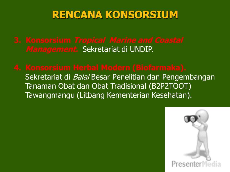 34 3. Konsorsium Tropical Marine and Coastal Management. Sekretariat di UNDIP. 4.Konsorsium Herbal Modern (Biofarmaka). Sekretariat di Balai Besar Pen