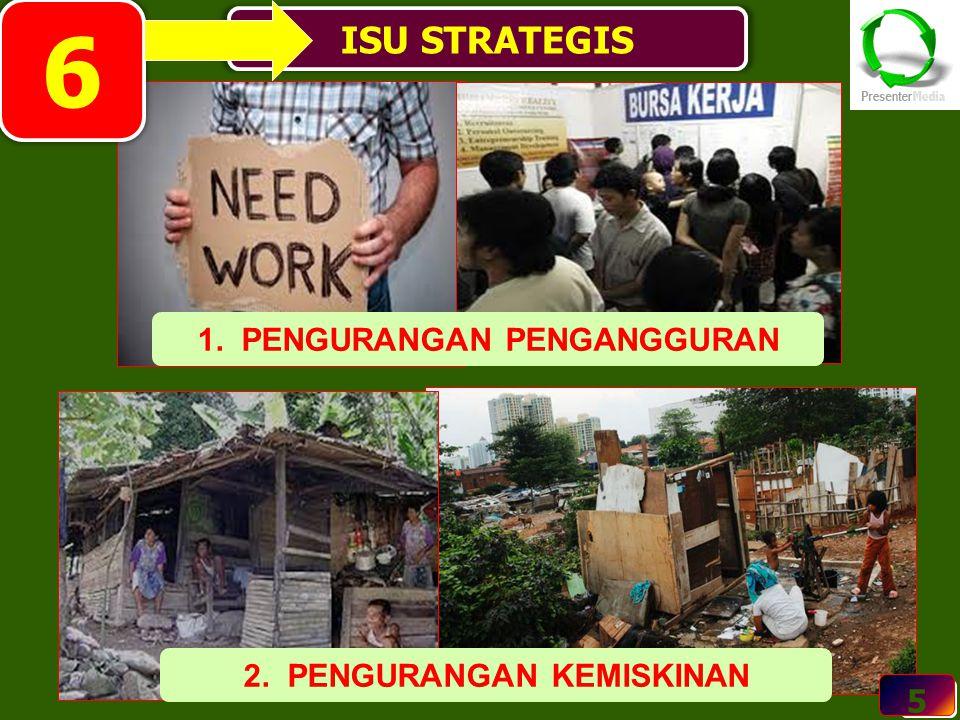 5 ISU STRATEGIS 5 1. PENGURANGAN PENGANGGURAN 2. PENGURANGAN KEMISKINAN 6
