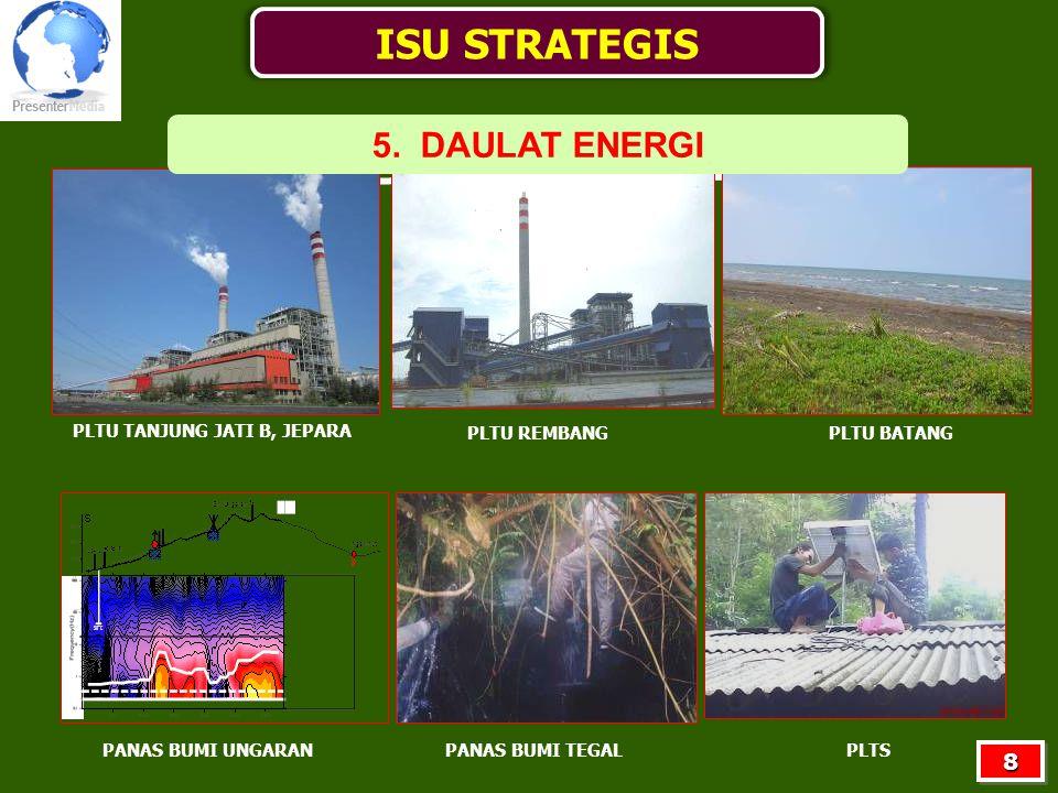 PLTU TANJUNG JATI B, JEPARA PLTU REMBANGPLTU BATANG PANAS BUMI UNGARANPANAS BUMI TEGALPLTS ISU STRATEGIS 5. DAULAT ENERGI