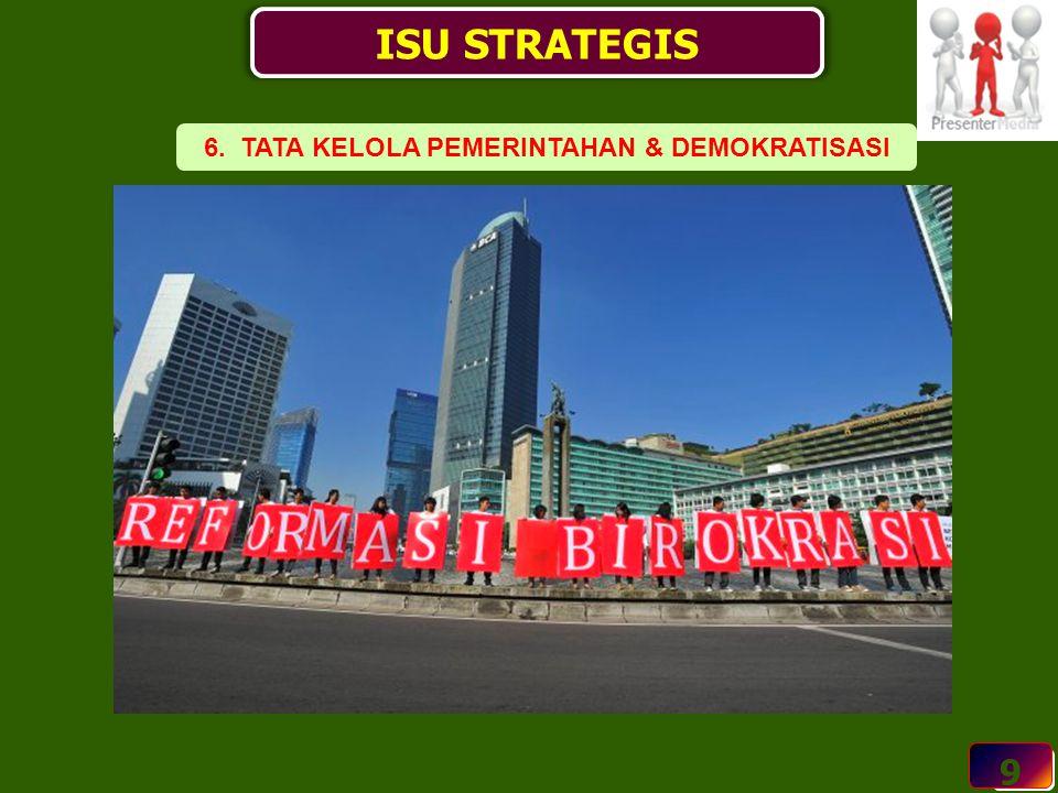 9 ISU STRATEGIS 9 6. TATA KELOLA PEMERINTAHAN & DEMOKRATISASI
