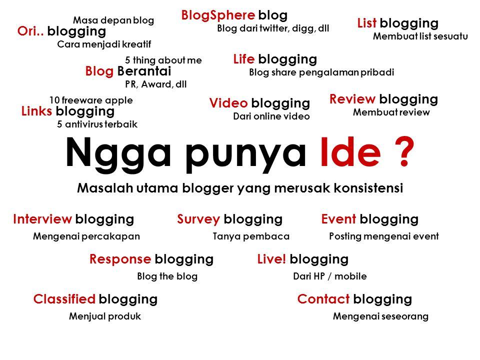 Masalah utama blogger yang merusak konsistensi Ngga punya Ide ? Ori.. blogging Blog Berantai Masa depan blog Cara menjadi kreatif 5 thing about me PR,