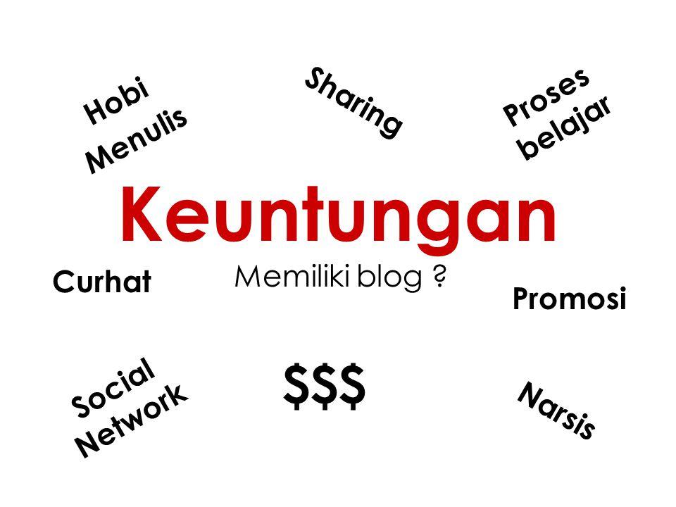 Keuntungan Memiliki blog ? Hobi Menulis Sharing Narsis Social Network $$$ Proses belajar Curhat Promosi