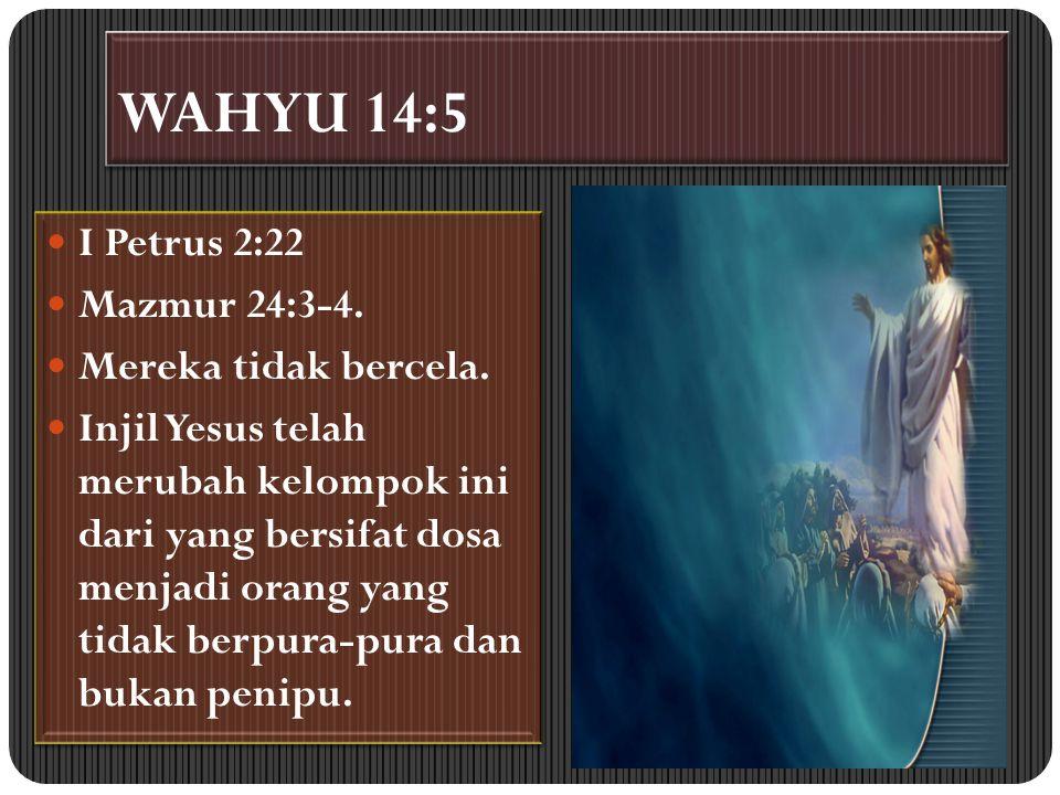 WAHYU 14:5 I Petrus 2:22 Mazmur 24:3-4. Mereka tidak bercela. Injil Yesus telah merubah kelompok ini dari yang bersifat dosa menjadi orang yang tidak