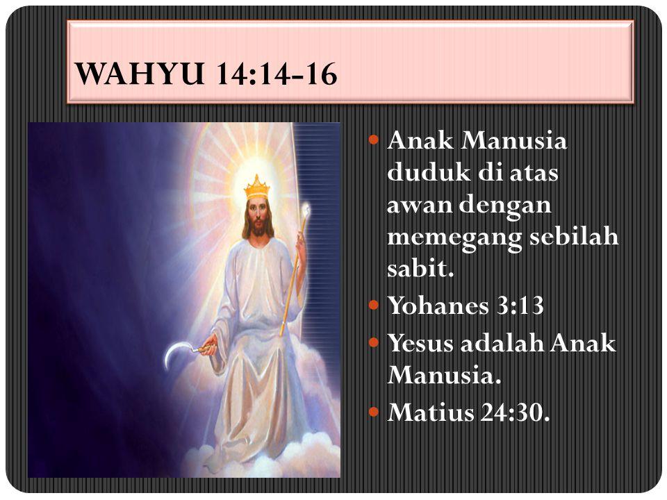WAHYU 14:14-16 Anak Manusia duduk di atas awan dengan memegang sebilah sabit. Yohanes 3:13 Yesus adalah Anak Manusia. Matius 24:30.