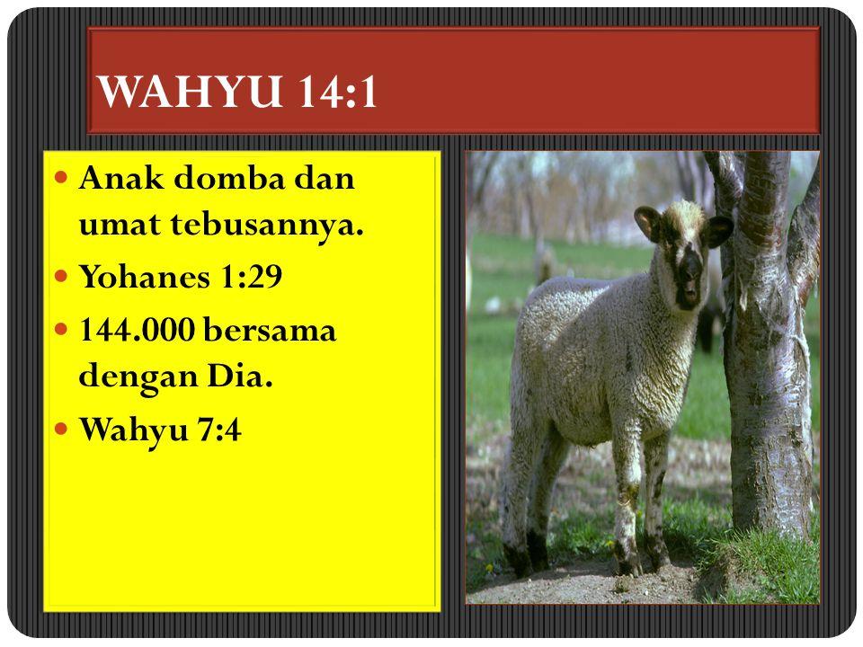 WAHYU 14:1 Anak domba dan umat tebusannya.Yohanes 1:29 144.000 bersama dengan Dia.
