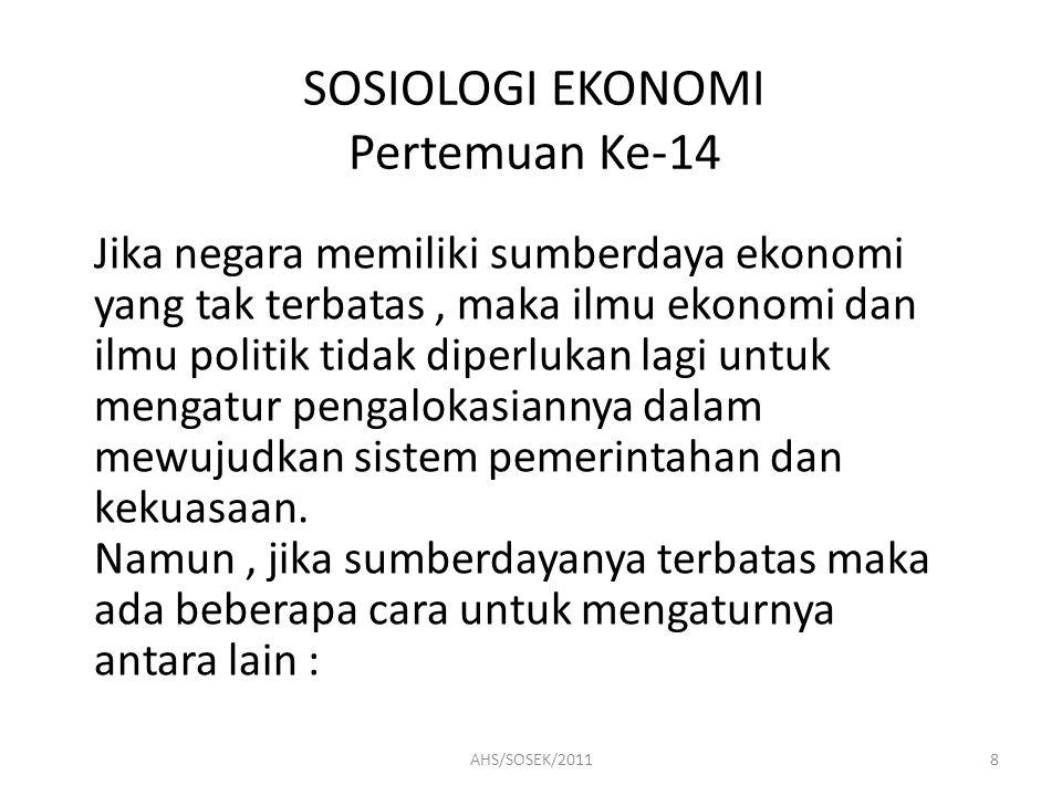 SOSIOLOGI EKONOMI Pertemuan Ke-14 Jika negara memiliki sumberdaya ekonomi yang tak terbatas, maka ilmu ekonomi dan ilmu politik tidak diperlukan lagi