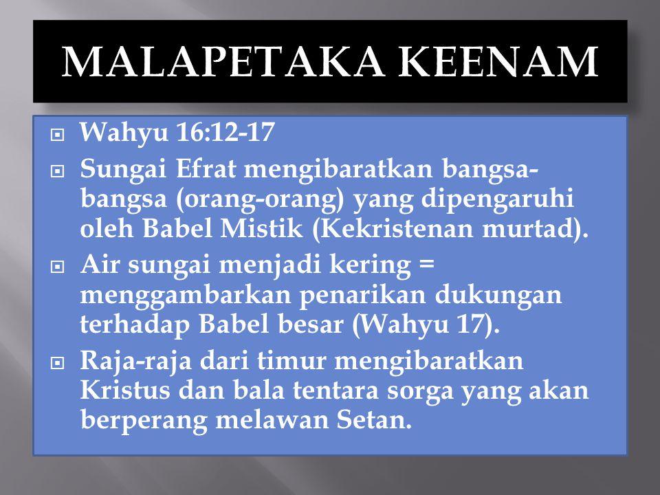  Penarikan dukungan terhadap tanda binatang dan bilangan namanya:  Wahyu 13:3,14-16  Wahyu 17:1-3,15,16  Bangsa-bangsa menjadi kecewa karena ternyata Gereja yang palsu yang meninggikan tanda binatang juga dihukum pada malapetaka ke lima (16:10,11).
