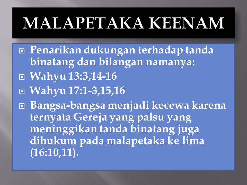  Penarikan dukungan terhadap tanda binatang dan bilangan namanya:  Wahyu 13:3,14-16  Wahyu 17:1-3,15,16  Bangsa-bangsa menjadi kecewa karena terny