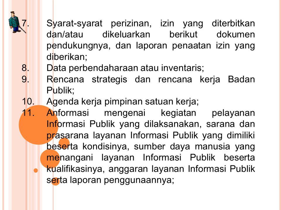 7.Syarat-syarat perizinan, izin yang diterbitkan dan/atau dikeluarkan berikut dokumen pendukungnya, dan laporan penaatan izin yang diberikan; 8.Data p