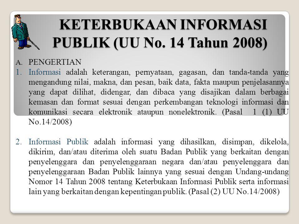 KETERBUKAAN INFORMASI PUBLIK (UU No. 14 Tahun 2008) A. PENGERTIAN 1.Informasi adalah keterangan, pernyataan, gagasan, dan tanda-tanda yang mengandung