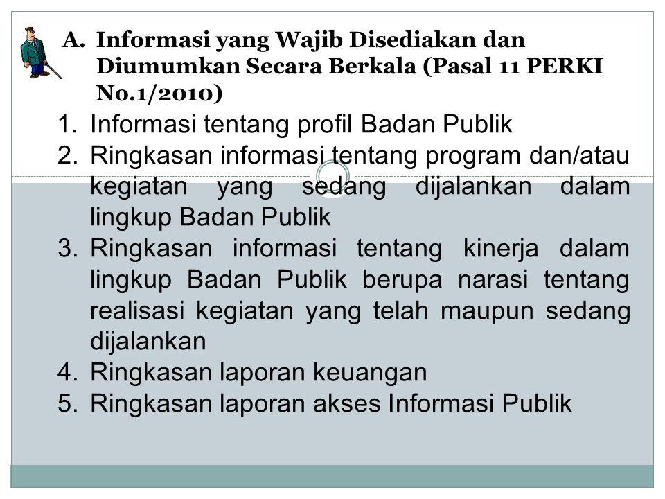 1.Informasi tentang profil Badan Publik 2.Ringkasan informasi tentang program dan/atau kegiatan yang sedang dijalankan dalam lingkup Badan Publik 3.Ri