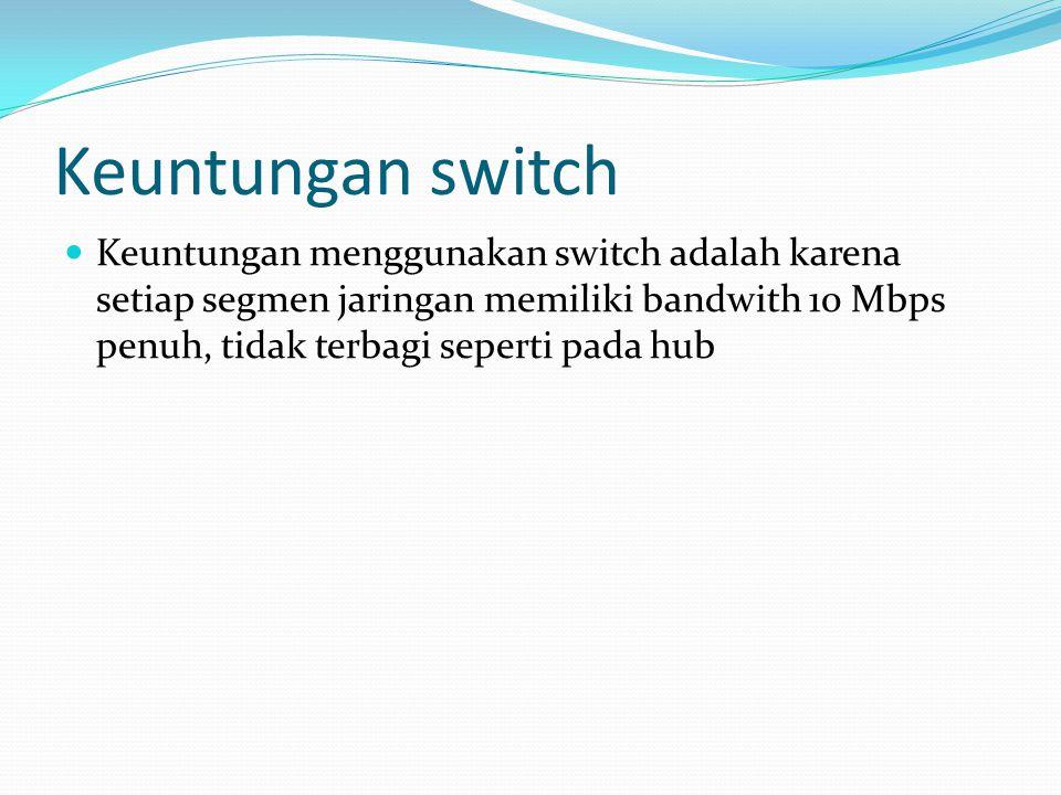 Switch menurut kemampuan dikelola Manageable Switch Non Manageable Switch