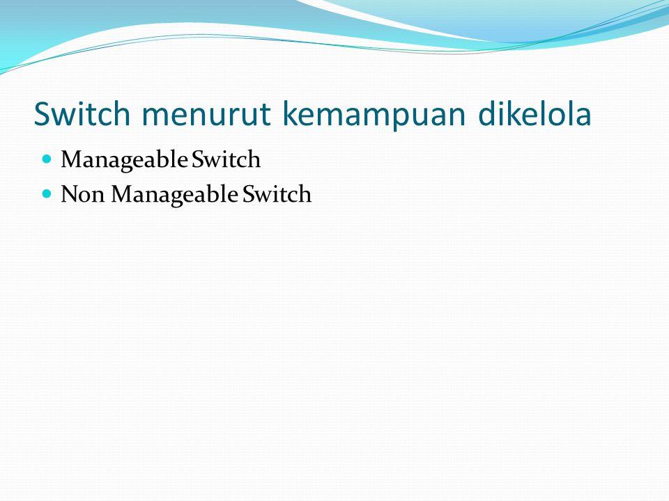 Manageable Switch Jika dibandingkan dengan Router, manageable switch memiliki kelebihan dalam harga yang relatif lebih murah Manageable switch unggul dalam skalabilitas jaringan yang dapat dilakukan dengan penambahan satu unit rak Ethernet