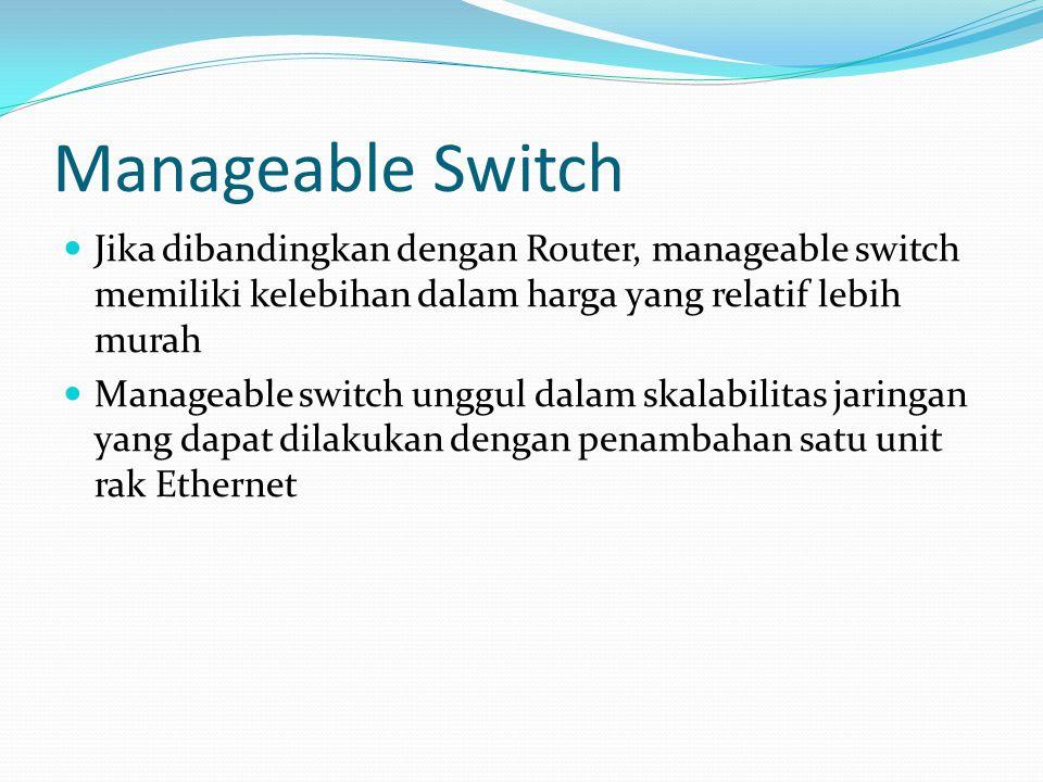 Manageable Switch Jika dibandingkan dengan Router, manageable switch memiliki kelebihan dalam harga yang relatif lebih murah Manageable switch unggul