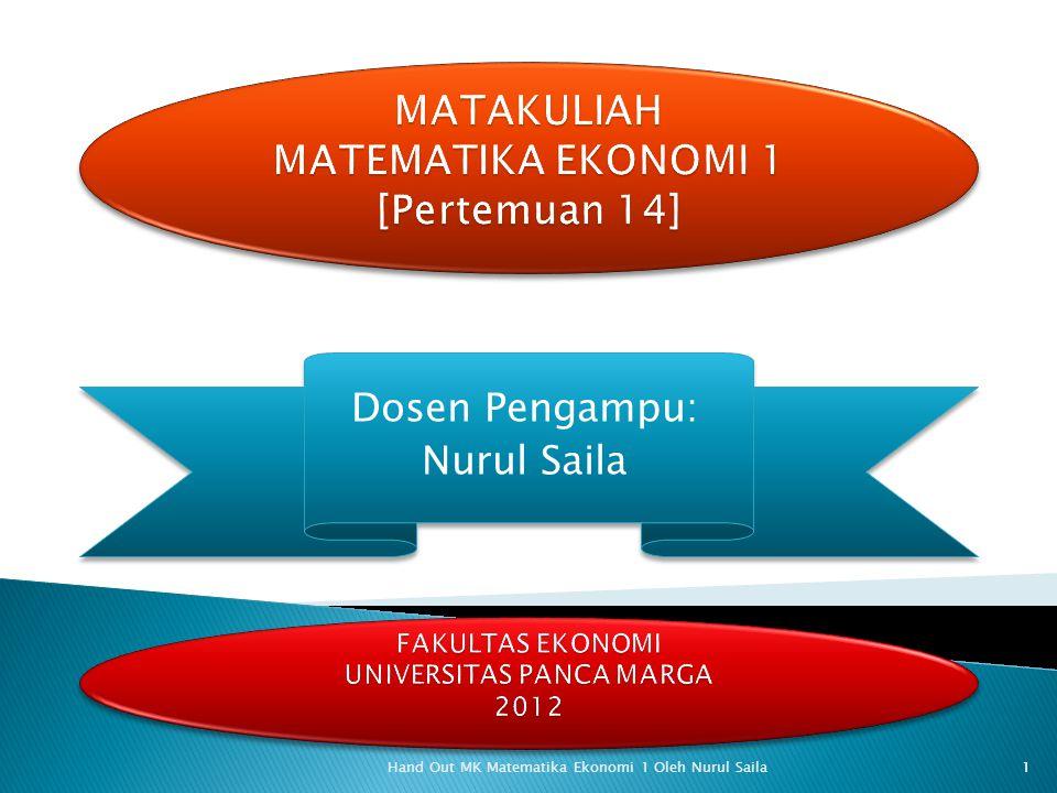 Dosen Pengampu: Nurul Saila Dosen Pengampu: Nurul Saila Hand Out MK Matematika Ekonomi 1 Oleh Nurul Saila 1