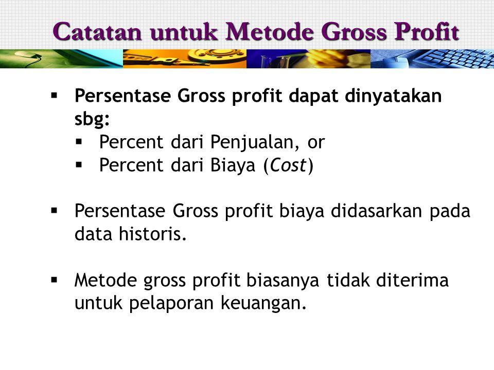  Persentase Gross profit dapat dinyatakan sbg:  Percent dari Penjualan, or  Percent dari Biaya (Cost)  Persentase Gross profit biaya didasarkan pada data historis.