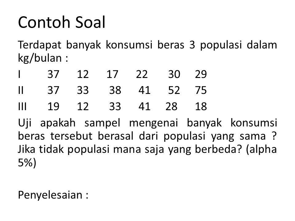 Contoh Soal Terdapat banyak konsumsi beras 3 populasi dalam kg/bulan : I 37 12 17 22 3029 II 3733 38 41 52 75 III 19 12 33 41 28 18 Uji apakah sampel